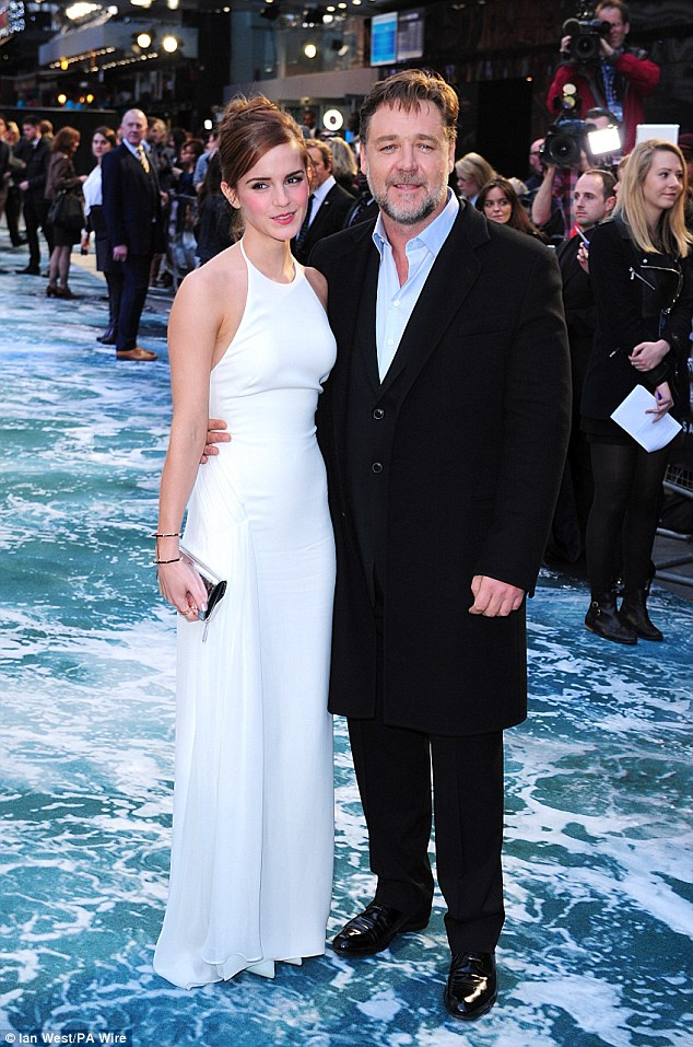 A-listers: Emma cosied up with Russell Crowe who plays Noah in the movie