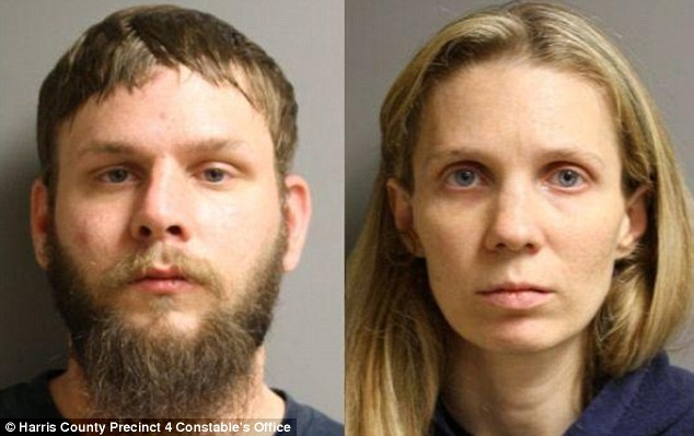 Horrific: The boy's father Bradley Bleimeyer (left) and stepmother Tammi (right) allegedly locked the five-year-old boy under the stairs and starved him