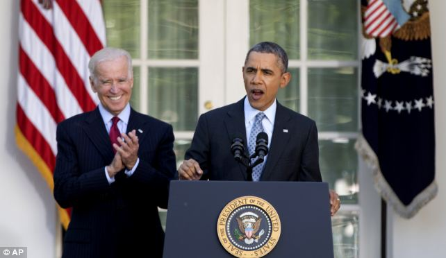 Barack Obama spoke about Affordable Care Act enrollment totals at the White House but took no questions, as Vice President Joe Biden stood by wordlessly and applauded