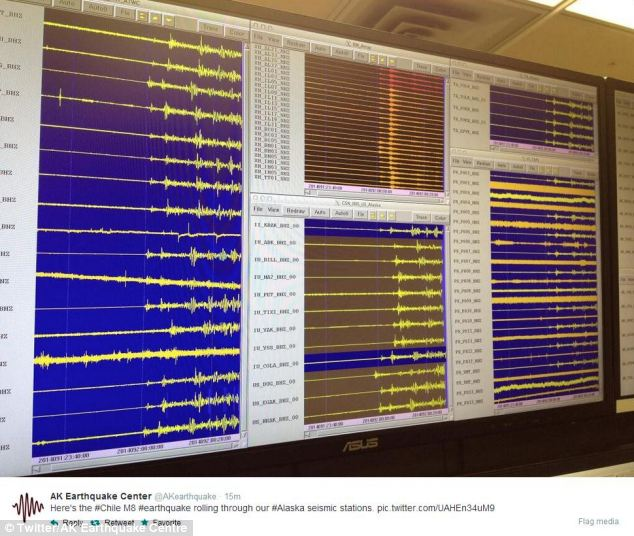 Far reaching: The effects of the powerful quake were noted by a seismic station in Alaska
