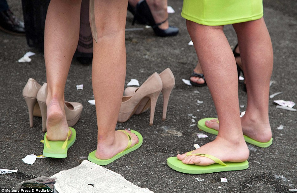 Heels were swapped for flip-flops as feet could no longer cope after a heavy day of walking