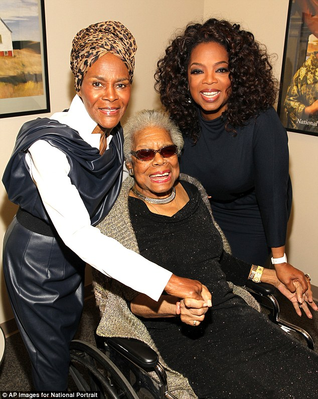 Powerful women: Oprah Winfrey and Cicely Tyson took a moment to pose with author Maya Angelou on her 86th birthday on the weekend as her portrait was unveiled at the Smithsonian National Portrait Gallery in Washington DC