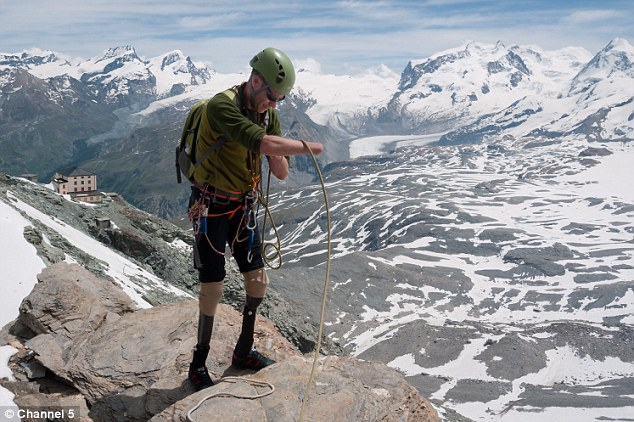 Long haul: Mr Andrew spent two years training for his attempt on the mighty 4,478m Matterhorn