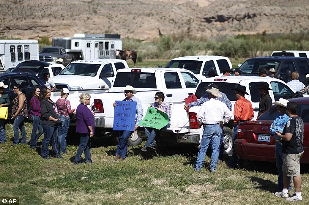 Help: Supporters prepare to rally for Cliven Bundy at the Bundy ranch near Bunkerville Nevada on Monday
