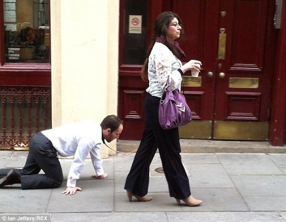 Unusual sight: Commuters in Farringdon, central London, were baffled by this sight this morning