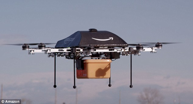 On their way: Jeff Bezos said testing of '5th and 6th generation aerial vehicles' was currently underway, adding that more drones - perhaps the models that will be put into active service - were in the design phase