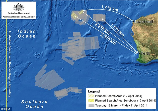 Image released by the Australian Maritime Safety Authority shows the current planned search area along the old ones in the Indian Ocean, West of Australia, for the wreckage of flight MH370