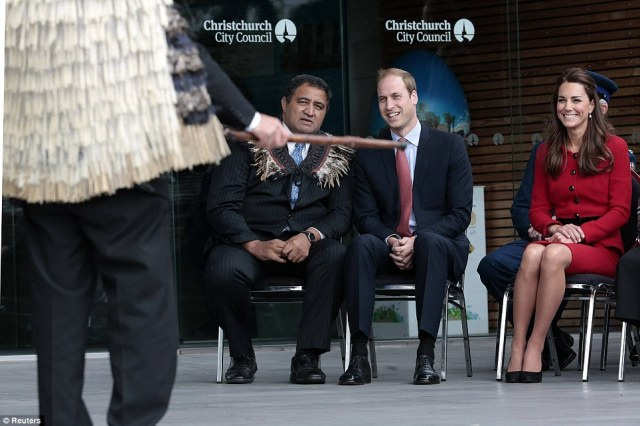 Amused: Kate and William smiled as they chatted to cultural advisor Kura Moeahu as they were officially welcomed to the city