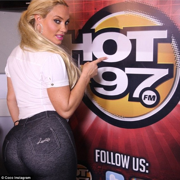 Bootylicious: Coco Austin showed off her booty in a new Instagram snap on Monday, writing, 'Catch me teaching @laurastylez booty exercises from my workout app tonight on #thisishot97 10:30pm on @vh1'