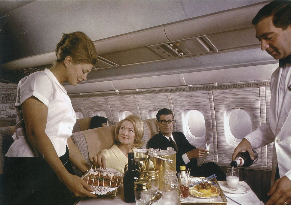 Bouffant hair styles and cocktail sticks: The British Overseas Airways Corporation First Class service on a VC-10 aircraft in the mid 1960s