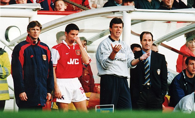 The man in charge: Arsene Wenger oversees Arsenal's match against Leeds at Highbury back in 1996