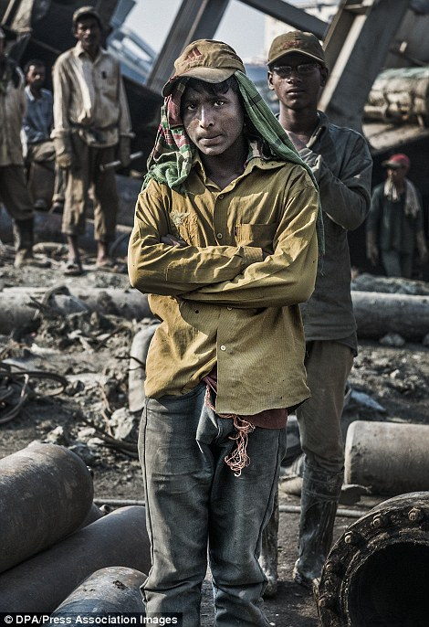 A worker in a ship-breaking yard in Chittagong. File picture