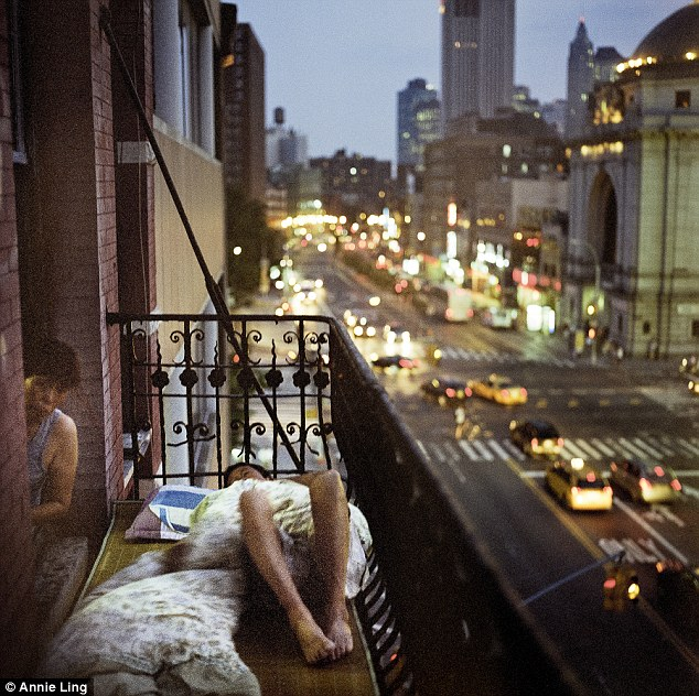 Searing New York hear: Often on hot summer nights, residents at 81 Bowery relaxed and took naps on the fire escape to cool down.