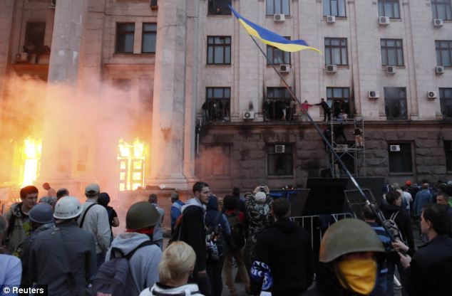 As the fighting worsened, dozens of people had to be evacuated from a burning building in the Southern Port City of Odessa