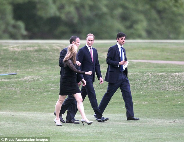 Dressed to impress: Prince William at a reception with other guests at The Memphis Country Club in Memphis, Tennessee