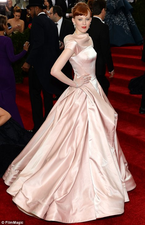 Model behaviour: Karen Elson (L) was clad in very pale blush pink while Linda Evangelista opted for a fuchsia frock