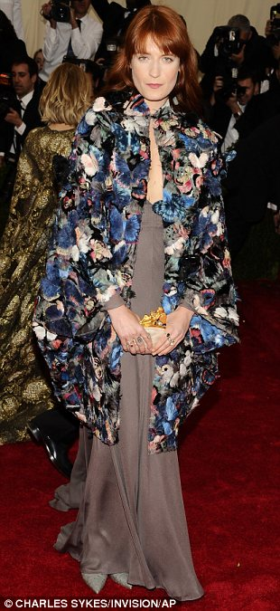 Grey matter: (L-R) Florence Welch, Joan Smalls and Lily Allen kept things relatively neutral