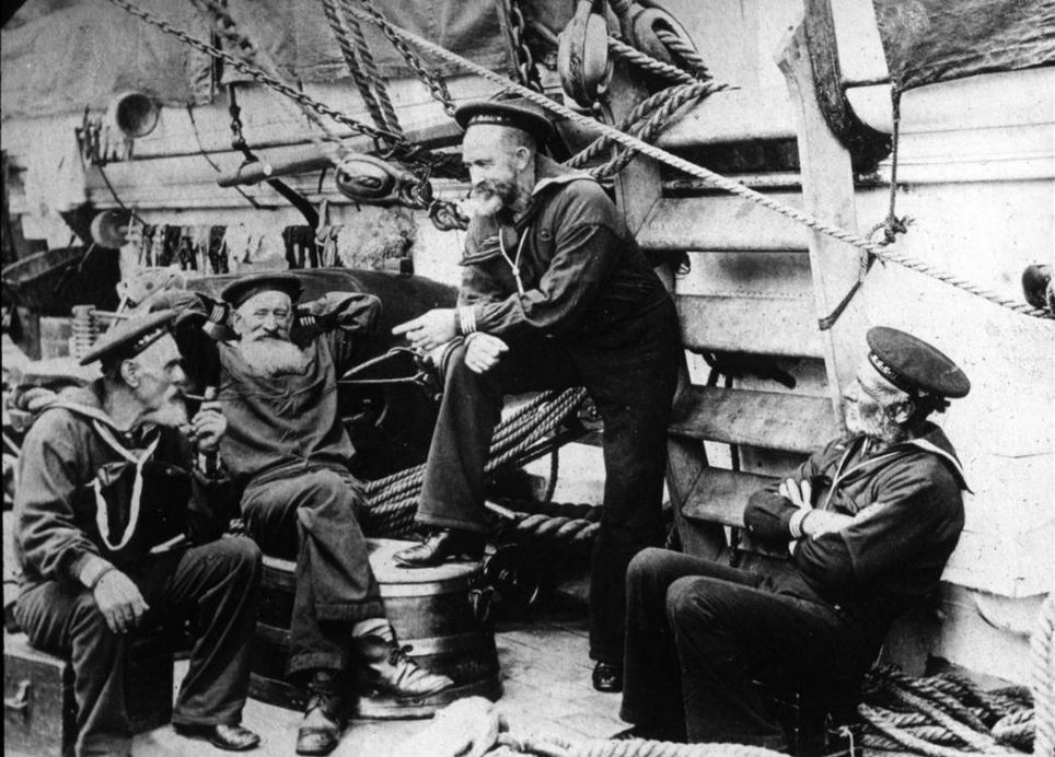 American sailors pictured during the Spanish-American war. They are Dave Ireland, Purdy, Tom Griffin and John King