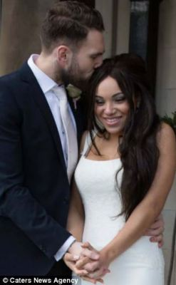 Rochelle Bathew hated her 32B breasts, left, and refused to walk down the aisle until her fiance Ryan, right, paid for her to have implants. She is now a 30FF, right