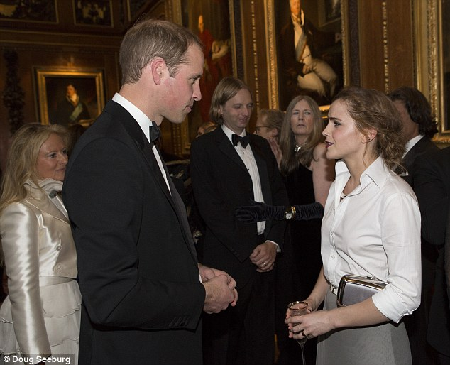 Quick catch up: Emma and Prince William managed to have a chat at the busy event