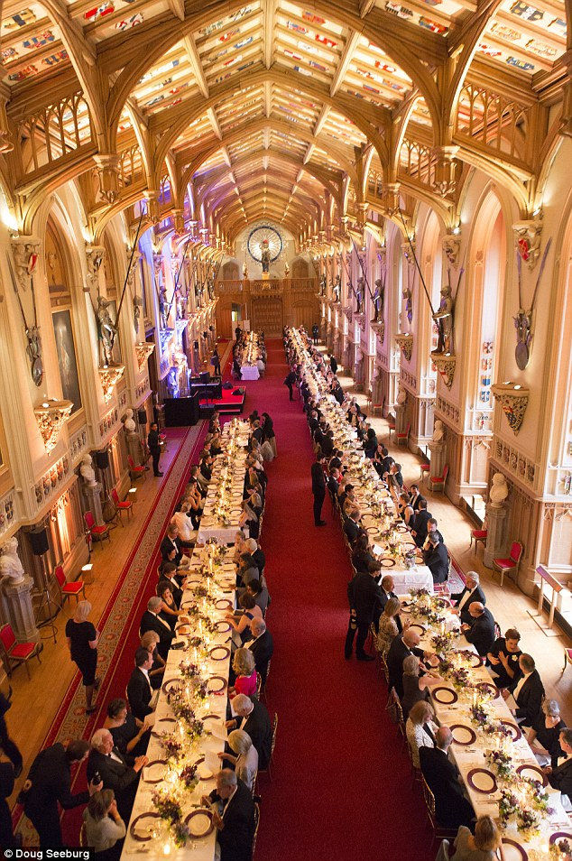 Like a scene from Harry Potter: Emma and other guests were treated to a three-course dinner in Windsor's famous medieval halls and Georgian salons
