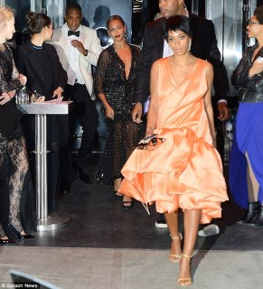 Staying close: Despite the attack on her husband, Beyonce left with Solange on the night of the attack (pictured above) and then the siblings both traveled to Costa Rica on Thursday