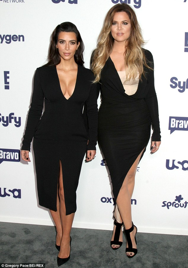 In control: Kim, left, and Khloé Kardashian, right, reportedly refused to sit beside Joan Rivers at the NBC Upfronts event in New York City on Thursday night