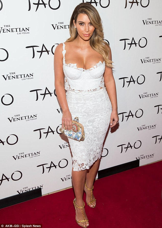 Familiar look: It wouldn't be the first time Kim has worn their designs; the mother-of-one stepped out in a white lace two-piece from Ermanno Scervino to celebrate her her 33rd birthday at a party in Las Vegas last October