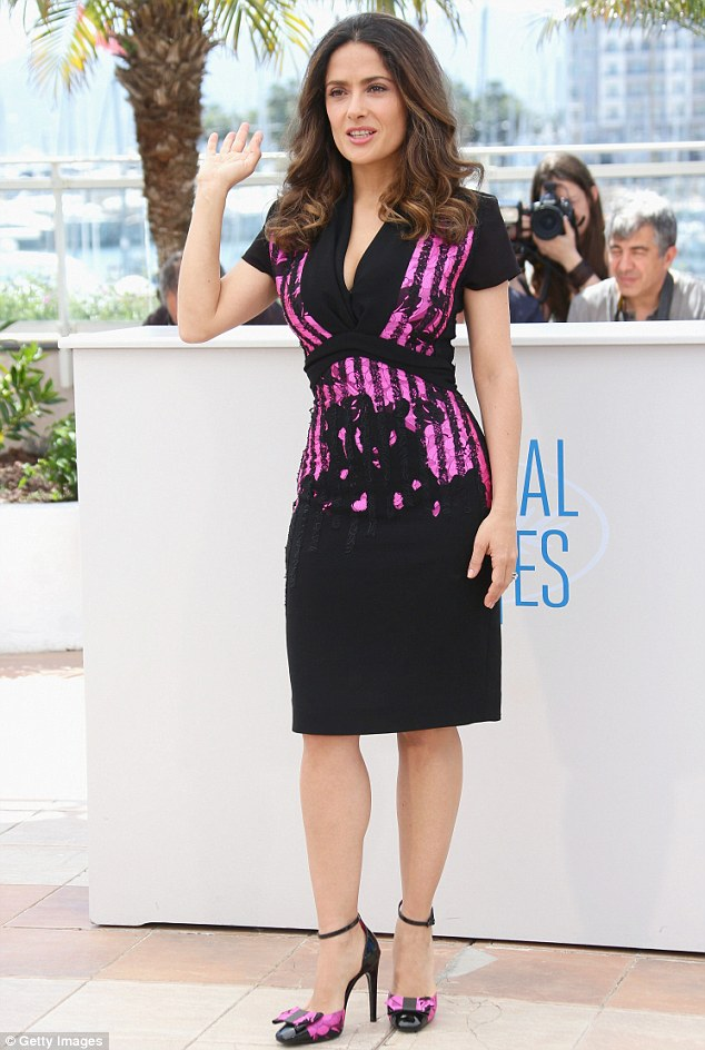 Beauty: Salma Hayek stuns as she attended the premiere of Kahlil Gibran's The Prophet at the 67th Annual Cannes Film Festival on Saturday