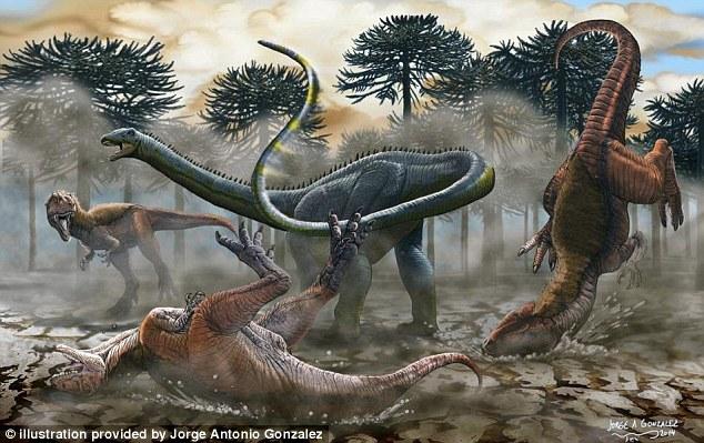 Image Ilustrasi -2014. Dinosaurus Amerika Selatan yang baru dikenal pasti menggunakan ekor cambuk seperti untuk menangkis predator