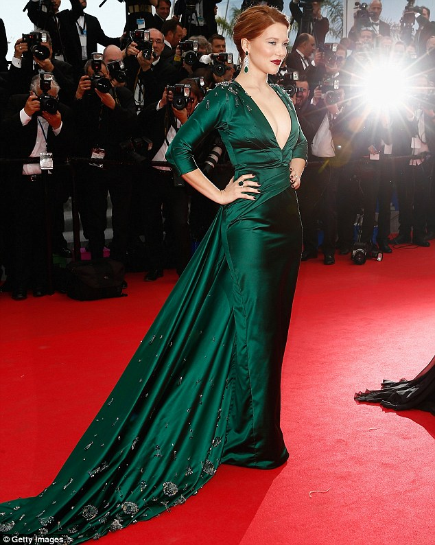 Green goddess: Lea Seydoux looked lovely in an elegant emerald gown