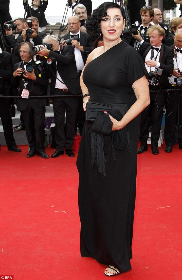 Grecian-inspired: Spanish actress Rossy de Palma sported a black one-shoulder dress