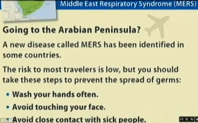 According to the Centers for Disease Control and Prevention, the people who need to be the most careful about MERS are those traveling to the Middle East, with signs like this starting to appear in U.S. airports