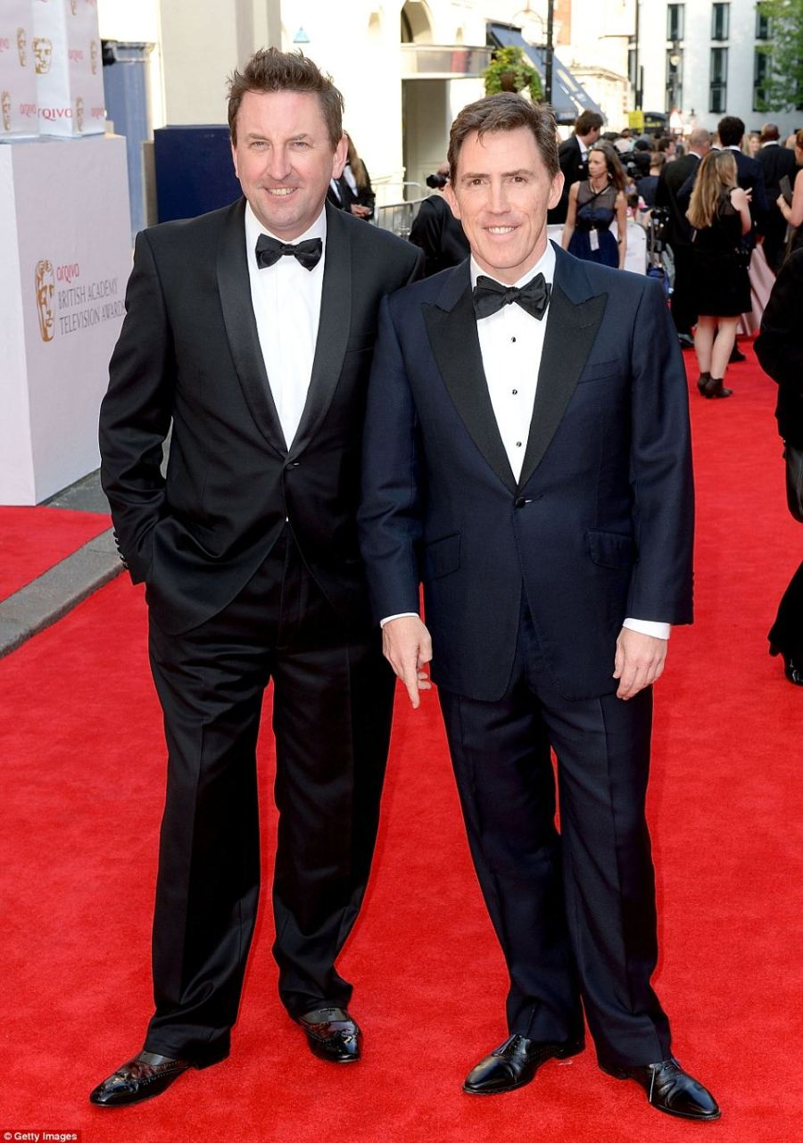 Dapper: Lee Mack and Rob Brydon attend the Arqiva British Academy Television Awards at the Theatre Royal