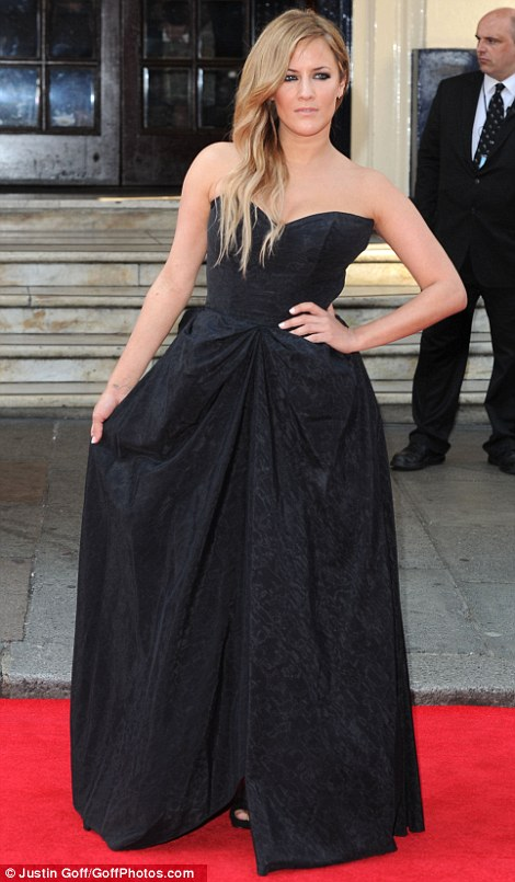 Gothic: Actress Jodie Whittaker and presenter Caroline Flack wore strapless black dresses but Jodie opted for a sleek slim skirt while Caroline chose a dramatic full skirt