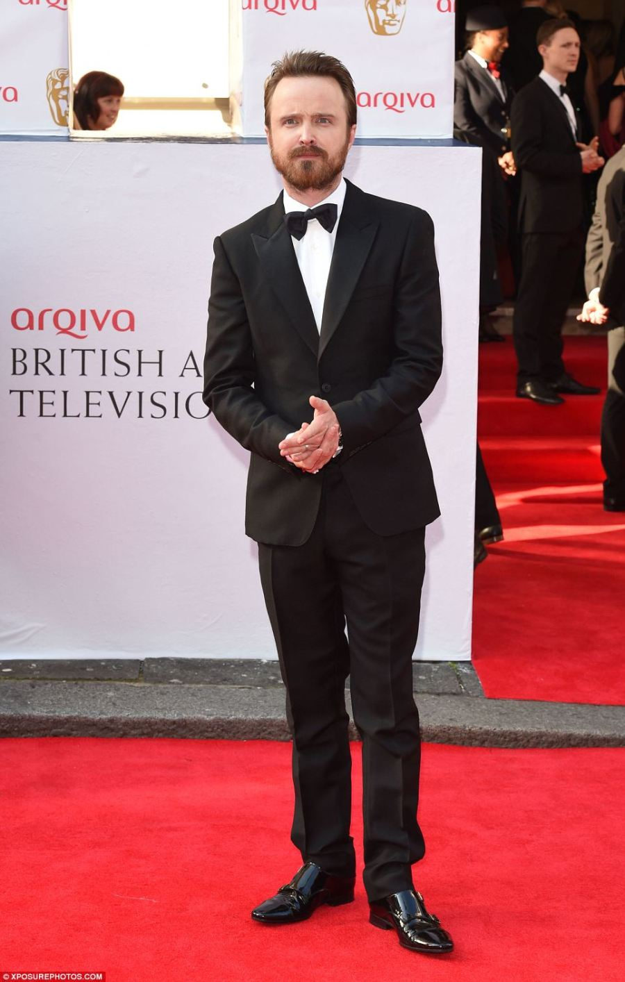 Looking good: A bearded Aaron Paul is dapper in a suit and tie on the red carpet