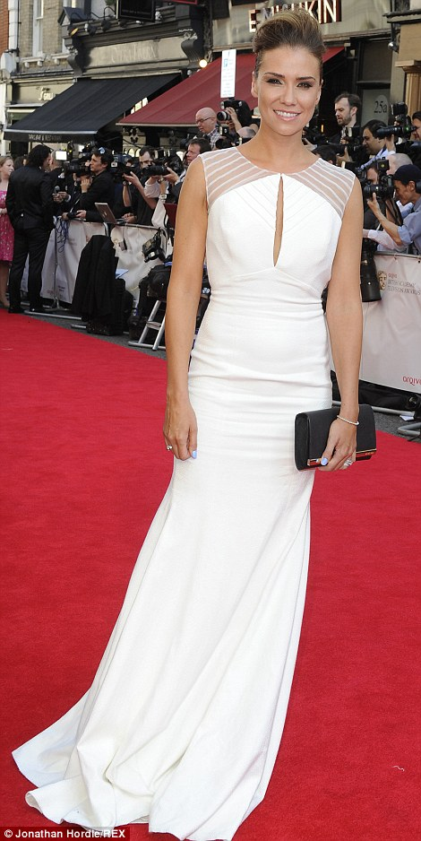 Chic: Rochelle Humes wore a black and white form-fitting gown while Liberty X star Jessica Taylor opted for a white peep-hole floor-length dress