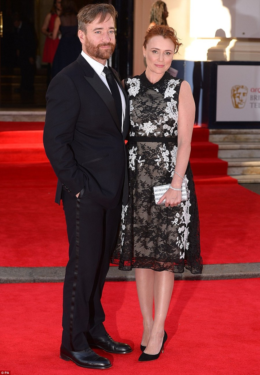 Looking good: Actress Keeley Hawes and her husband Matthew Macfadyen arriving for the 2014 Arqiva British Academy Television Awards at the Theatre Royal, Drury Lane, London