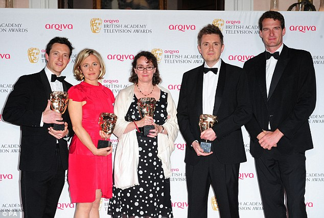 Proud: Nick Holt, Marina Parker, Kate Barker and Ben Brown collect gongs for the Single Documentary Award for The Murder Trial, alongside presenter Dan Snow