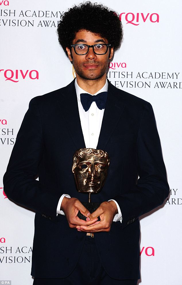 Success: Winner of Male Performance in a Comedy Programme, Richard Ayoade for The IT Crowd, collects his award