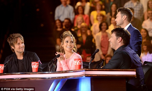 Good friends: Jennifer opened up about her fellow American Idol judges Keith Urban and Harry Connick Jr., pictured last week during the show