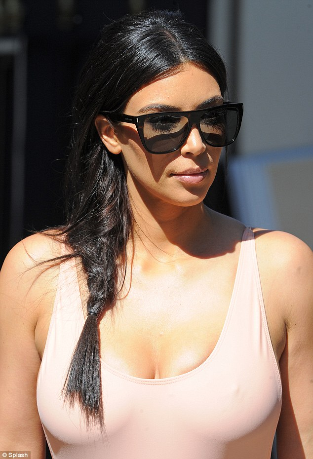 Fearless fashionista: Kim's decision to go totally braless for the day was a rather brave one