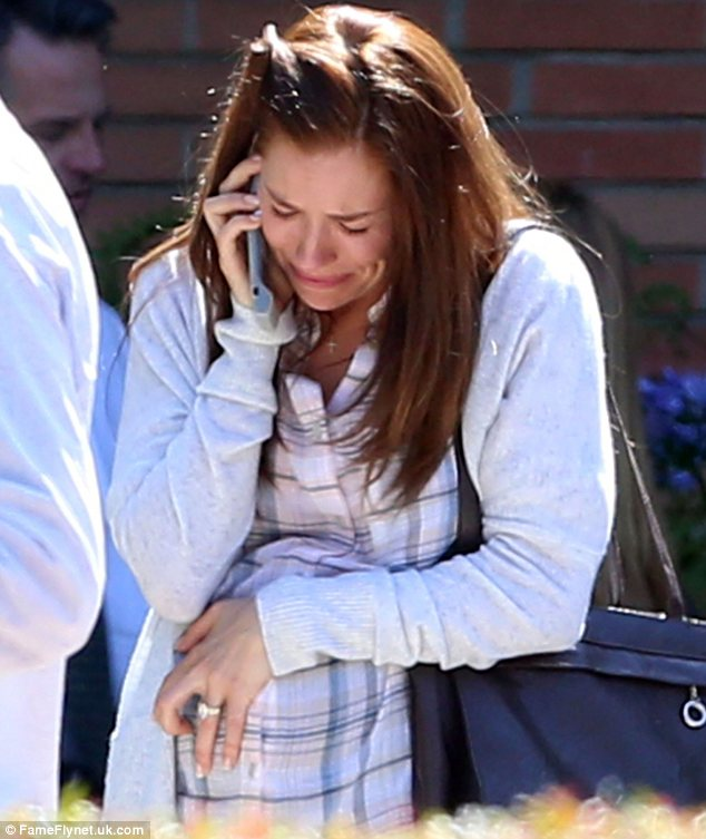 Getting emotional: Sienna Miller was spotted crying for a scene while filming American Sniper in Los Angeles on Monday