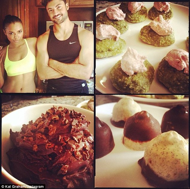 Delicious and healthy: Kat shared photos of Crosby's 'sugar free super food fat burning cookies' that morning