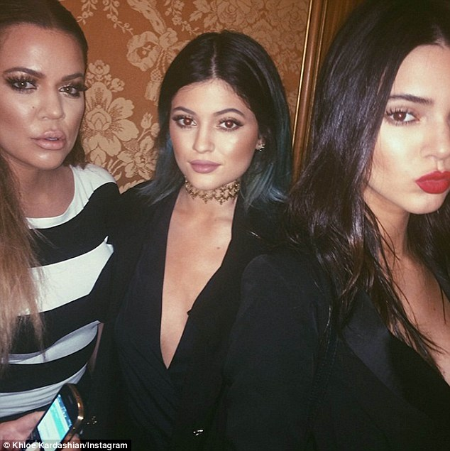 Clique: Meanwhile the youngest sisters of the clan, Kendall and Kylie Jenner opted for sexy black outfits as they posed for pictures on Instagram