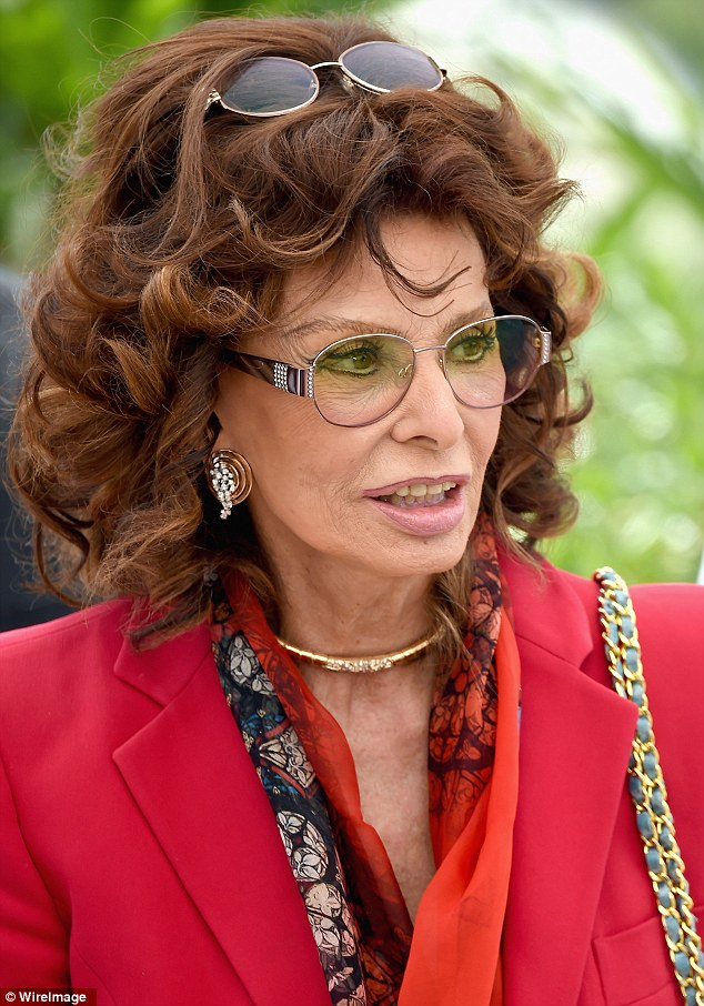 Spare pair: Sophia Loren attended the Cannes Classics photo call on Wednesday wearing two pairs of glasses