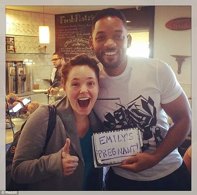 Bun in the oven: A mother-to-be named Emily got to send out some very special baby announcements after she ran into Will Smith at a bakery and recruited him to help her spread the news