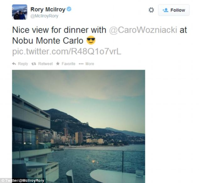 As recently as Sunday, McIlroy's Twitter feed suggested there were no signs of trouble in the relationship after he posted a picture from Nobu restaurant in Monte Carlo where the pair had dinner