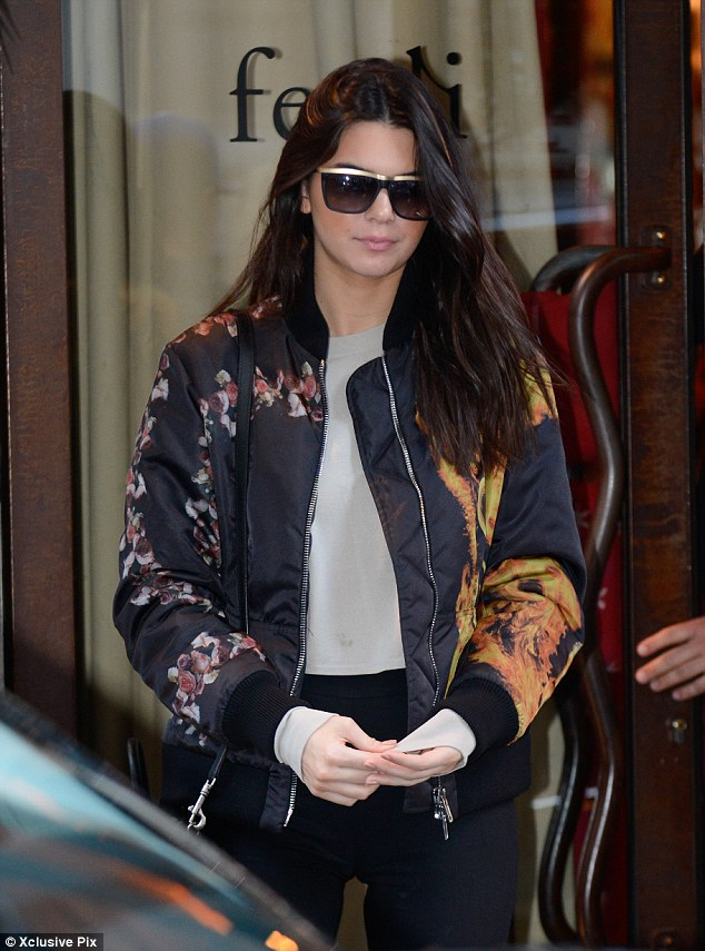 Recovering from Cannes: Kim's model half-sister Kendall Jenner made a stylish exit in her patterned jacket