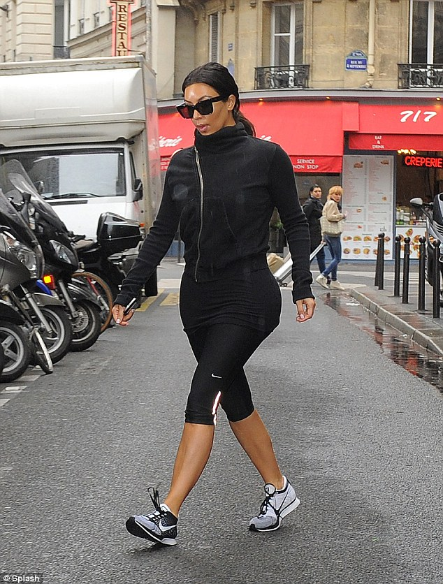 Last minute workout: Kim Kardashian was seen after a workout in Paris on Wednesday morning